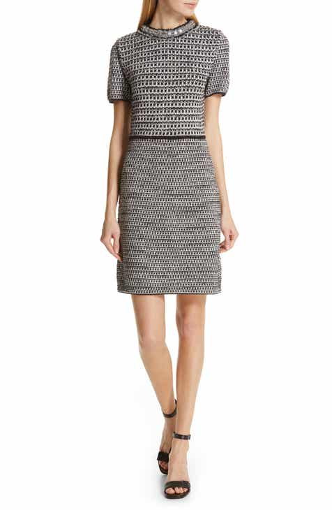 2d35716b165 Tory Burch Embellished Fringe Tweed Dress