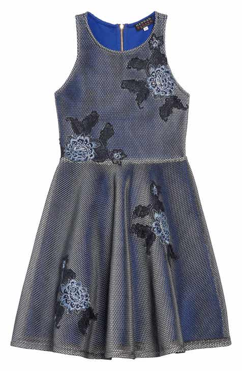 Hannah Banana Embroidered Techno Mesh Dress (Big Girls)