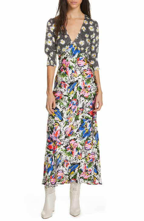 RIXO Zadie Mixed Print Dress