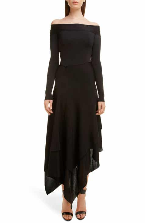 Victoria Beckham Long Sleeve Off the Shoulder Asymmetrical Dress by VICTORIA BECKHAM