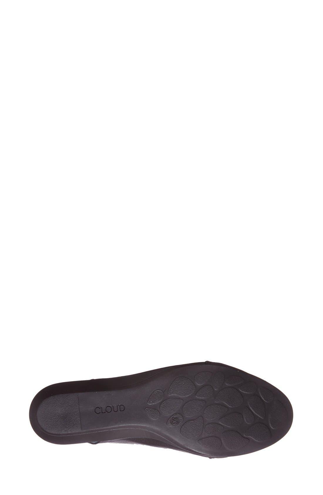 'Caliber' Peep Toe Leather Flat,                             Alternate thumbnail 4, color,                             Black