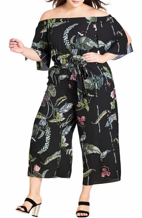 86154b4a15a City Chic Print Off the Shoulder Jumpsuit (Plus Size)