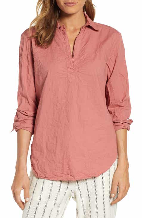 21887b85eeb53 Lou   Grey Pop-On Crinkled Cotton Blouse