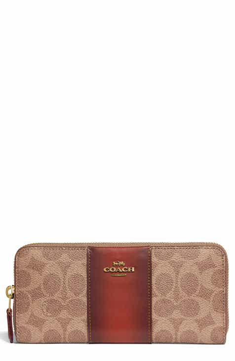220db788cf22 COACH Colorblock Zip Around Leather   Coated Canvas Wallet