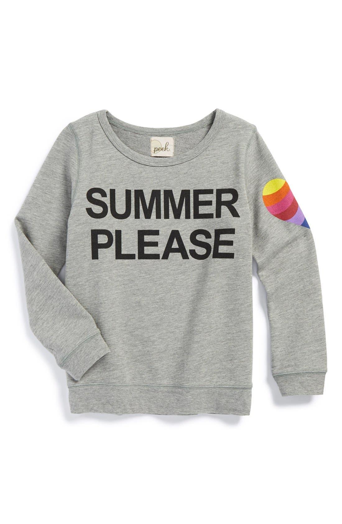 Main Image - Peek 'Summer Please' Graphic Sweatshirt (Toddler Girls, Little Girls & Big Girls)
