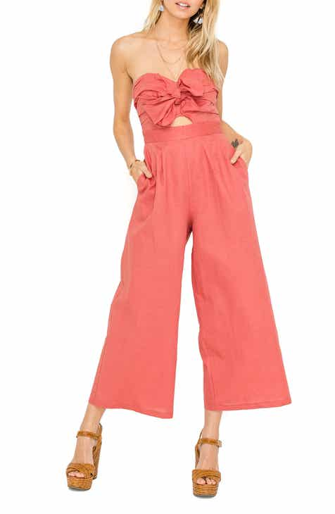 ASTR the Label Mara Strapless Cotton & Linen Jumpsuit by ASTR