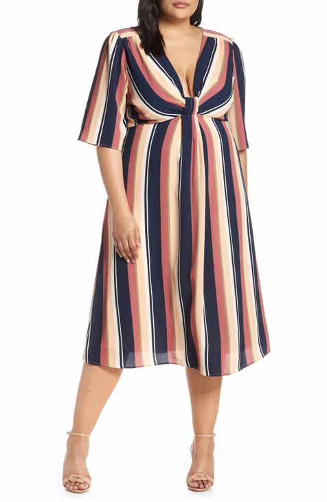 b9eaad3f03bd5 Leith Deep V-Neck Stripe Midi Dress (Plus Size)