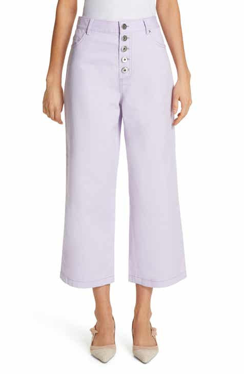 Gucci Wool & Silk Cady Wide Leg Crop Pants by GUCCI