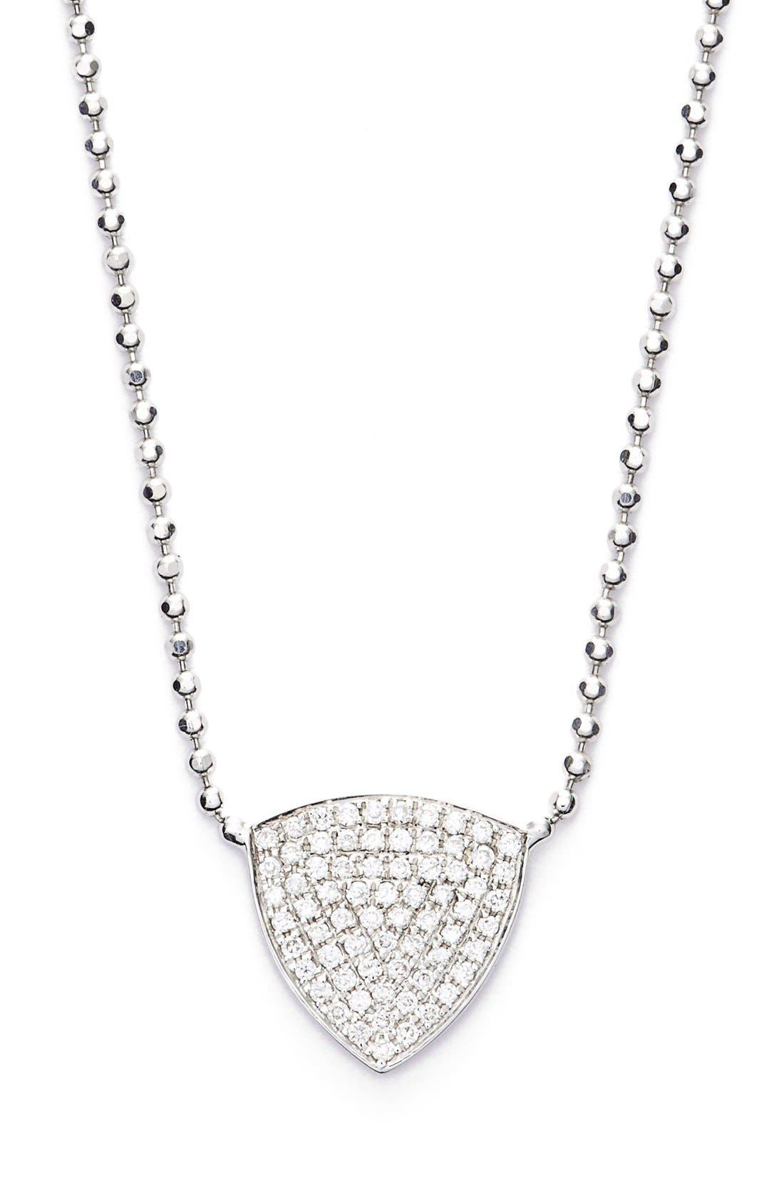 'Aurora' Diamond Pavé Triangle Necklace,                             Main thumbnail 1, color,                             White Gold