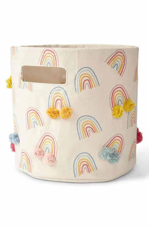 Pehr Rainbows Pompom Canvas Bin