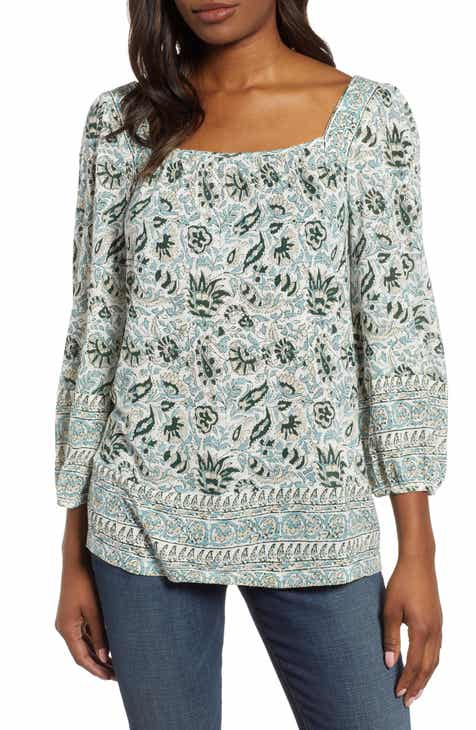 6d3fdbeffb5a Lucky Brand Border Print Peasant Top