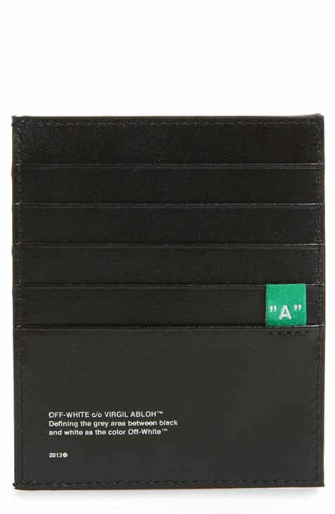 a069bf8d6a27 Off-White Diagonal Print Leather Card Case
