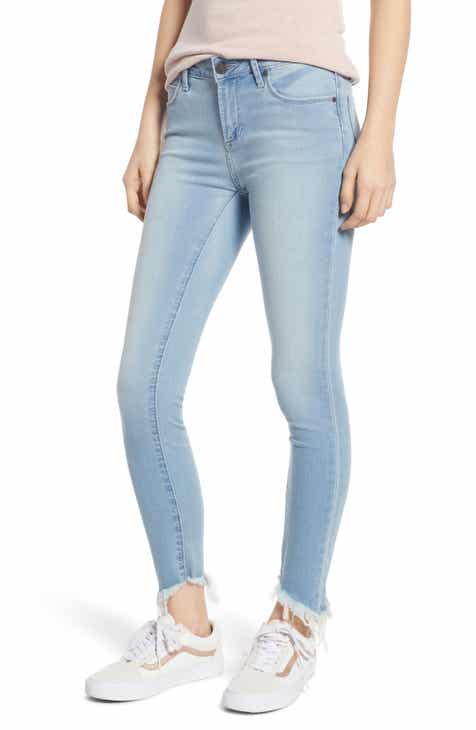 Topshop High Waist Crop Flare Nonstretch Jeans (Bleach Blue) by TOPSHOP