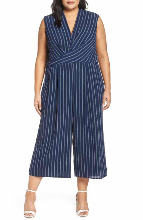 3a416510352 Maggy London Angie Rope Stripe Crop Jumpsuit (Plus Size)