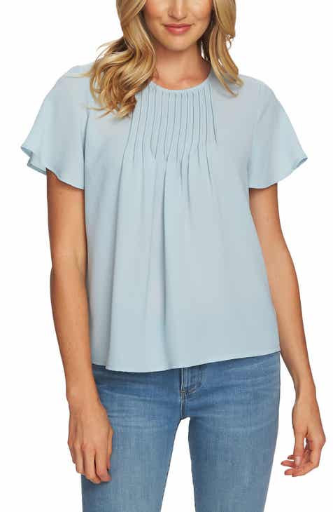 CeCe Pintuck Stretch Crepe Blouse