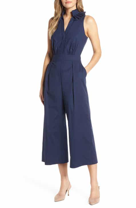1901 Pleat Collar Sleeveless Jumpsuit (Regular   Petite) be2400951