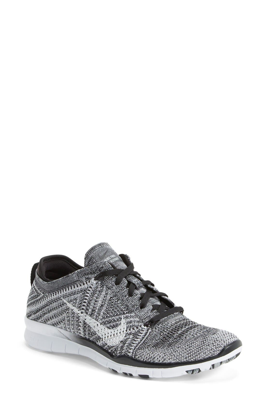 'Free Flyknit 5.0 TR' Training Shoe,                             Main thumbnail 1, color,                             Black/ Grey/ White