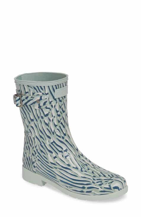 b6f789e32 Hunter Original Coral Print Refined Short Waterproof Rain Boot (Women)