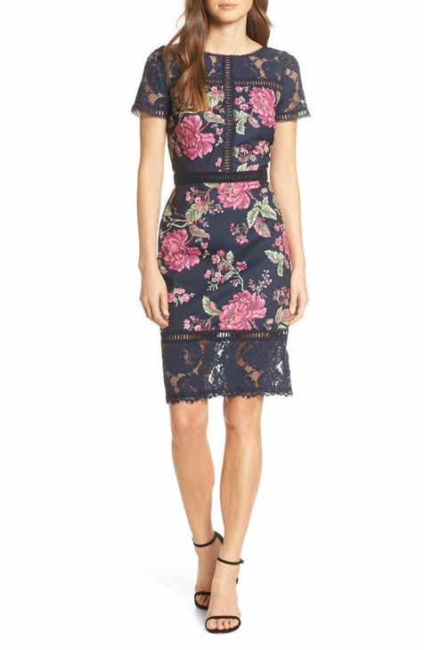 035640a5020b Tadashi Shoji Floral   Lace Sheath Dress