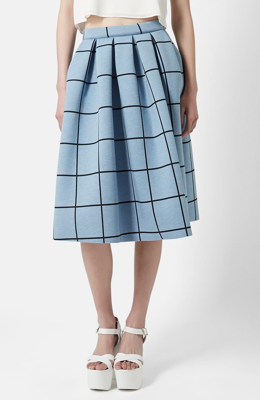 Windowpane Midi Skirt,                         Main,                         color, Light Blue