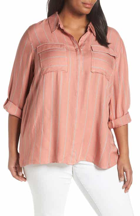 d520c37d3c9 Seven7 Stripe Roll-Tab Sleeve Blouse (Plus Size)