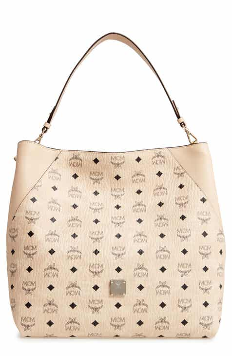 acb64aa698a4 MCM Large Klara Visetos Coated Canvas Hobo