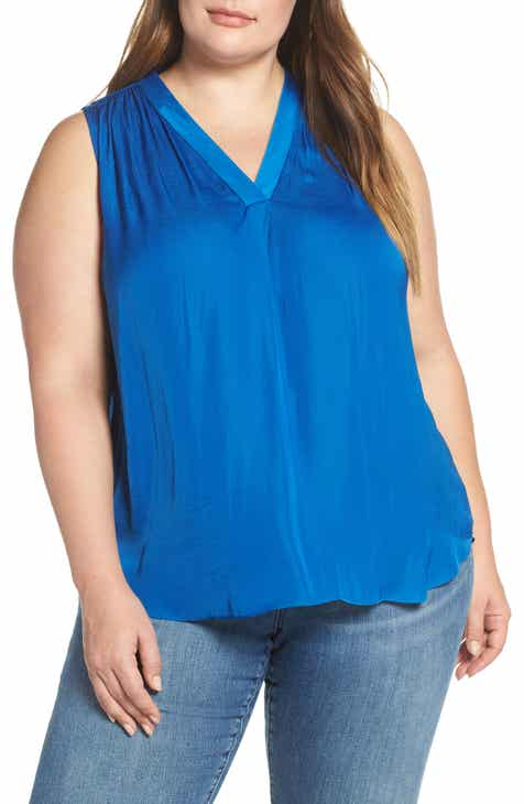 Vince Camuto V-Neck Rumple Satin Blouse (Plus Size)