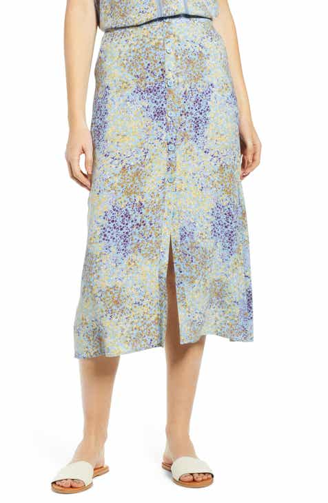 Gucci Gothic Floral Print Pleated Silk Twill Midi Skirt by GUCCI