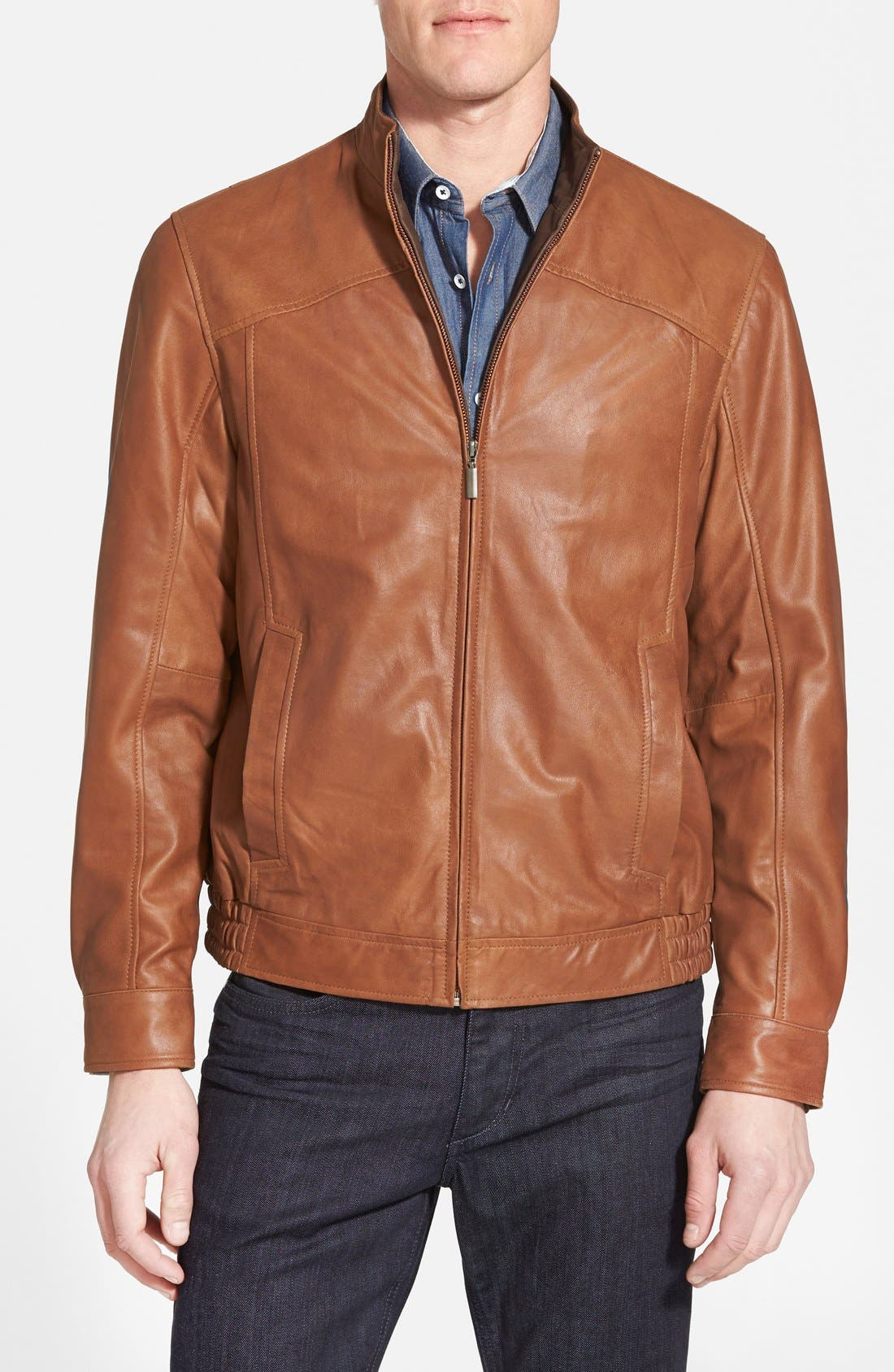 Leather Bomber Jacket,                         Main,                         color, Saddle Brown