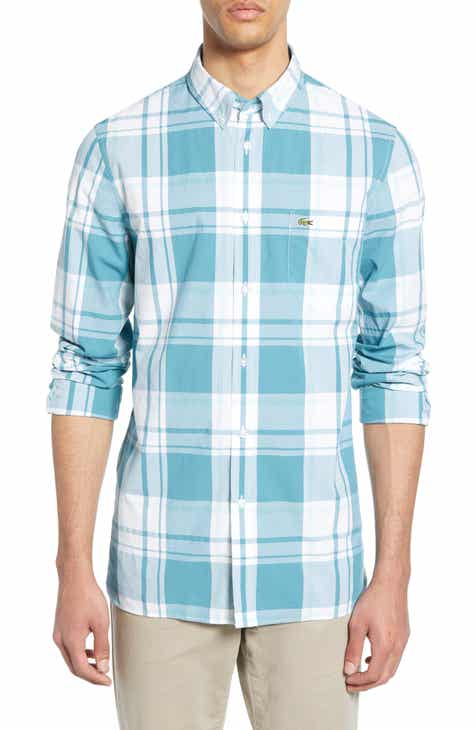 dc5edca91f17 Lacoste Regular Fit Plaid Poplin Sport Shirt