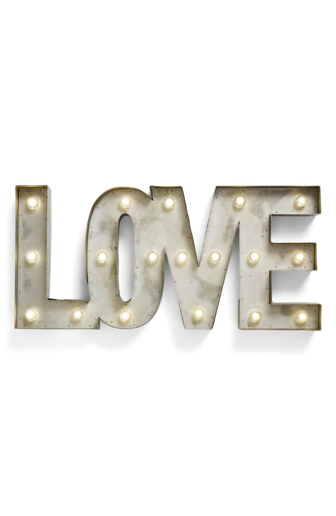 'LOVE' LED Marquee Sign,                             Main thumbnail 1, color,                             Metal
