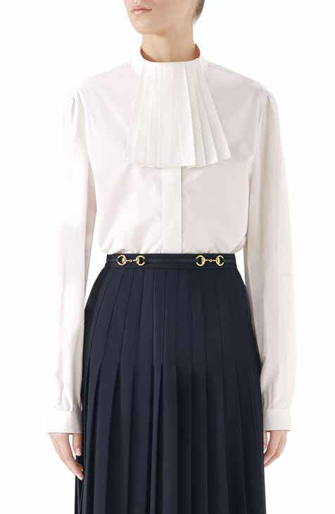 5ae53ab6d Gucci Poplin Blouse with Removable Neck Detail
