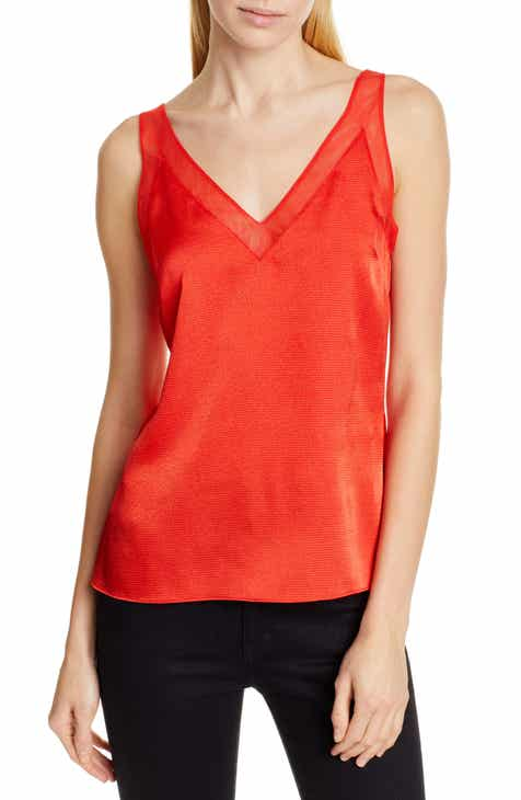 Ted Baker London Mesh Trim Textured Satin Camisole