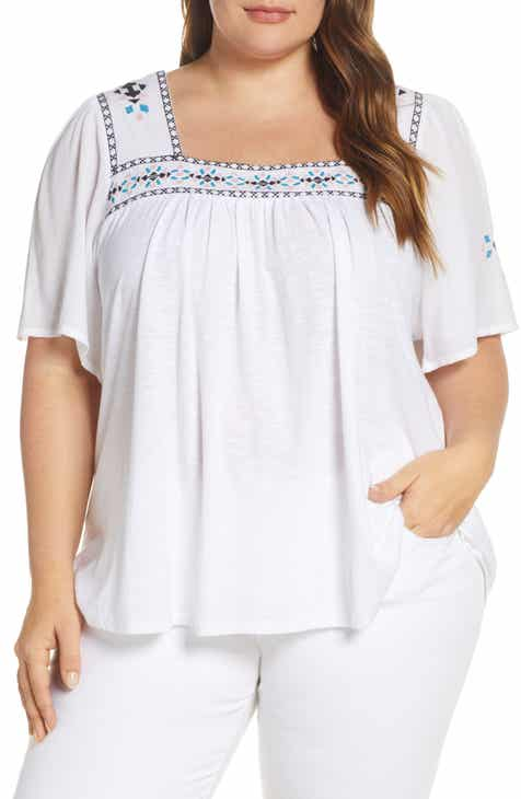 44ebe057b73fd Lucky Brand Embroidered Square Neck Top (Plus Size)