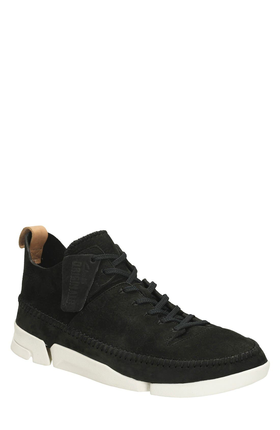 Clarks<sup>®</sup> 'Trigenic Flex' Leather Sneaker,                             Main thumbnail 1, color,                             Black
