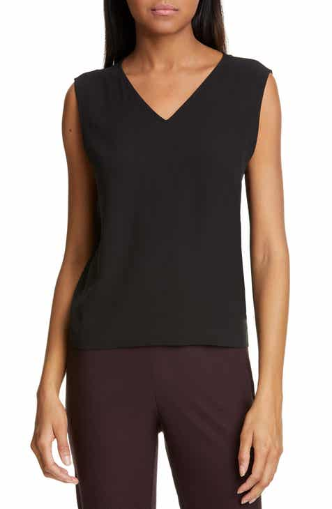 68d5ae959f8017 Eileen Fisher V-Neck Sleeveless Silk Shell