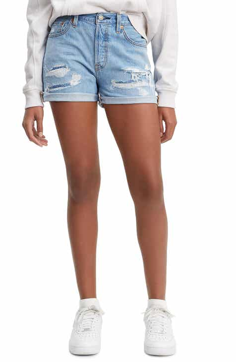 Levi's® 501® High Waist Long Denim Shorts (Haze Blue)