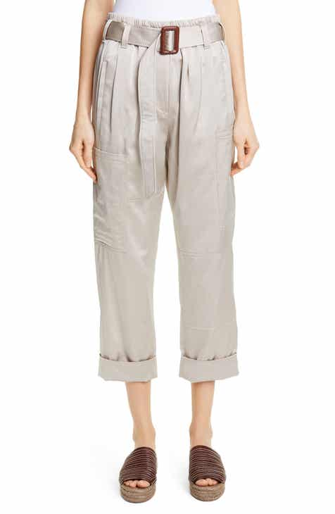 Brunello Cucinelli Belted Satin Cargo Pants by BRUNELLO CUCINELLI