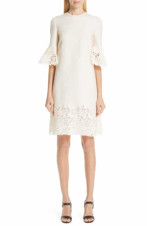 7c775f47 Valentino Lace Trim Wool & Silk Dress