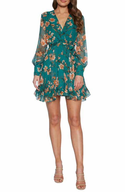 6019fa7db5796 Bardot Becky Floral Long Sleeve Chiffon Minidress