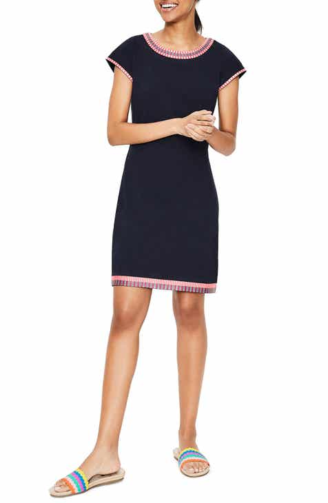 Boden Sena Embroidered Trim Jersey T-Shirt Dress by BODEN