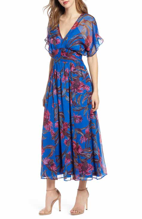 40a5f5c9b9 Leith Botanical Print Kimono Sleeve Maxi Dress (Regular   Plus Size)