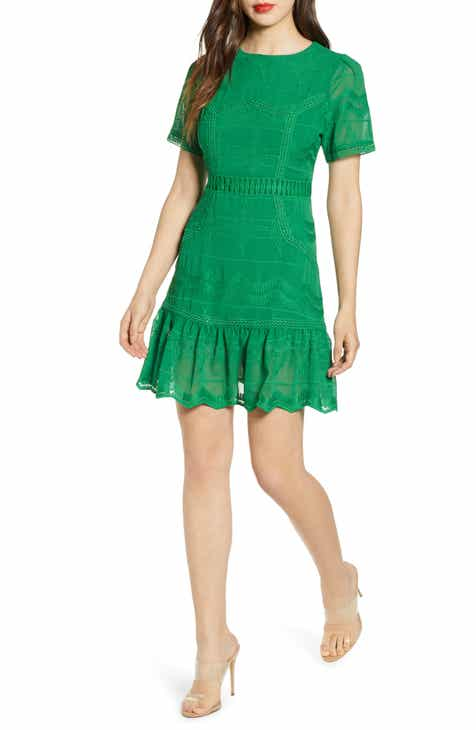 Vince Camuto Eyelet Bell Sleeve Shift Dress with Tassel Hem (Plus Size) by VINCE CAMUTO