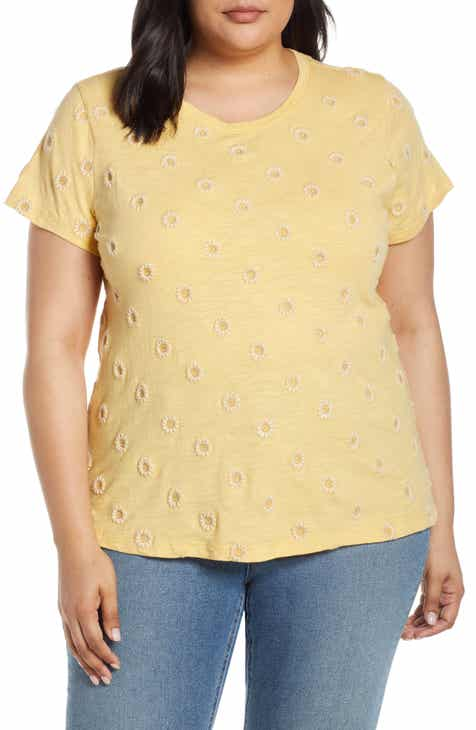 e05ea4f87fb Lucky Brand Daisy All Over Embroidered Tee (Plus Size)