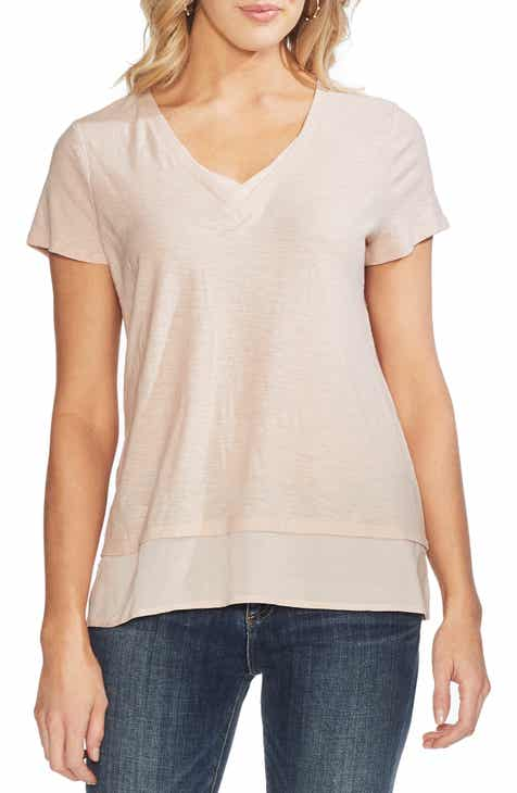 cd5af5b23adf1 Vince Camuto Layered Look V-Neck Tee