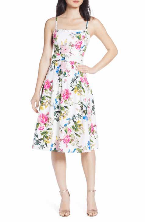 8580dedaf6 Eliza J Belted Taffeta Fit   Flare Dress (Regular   Petite)