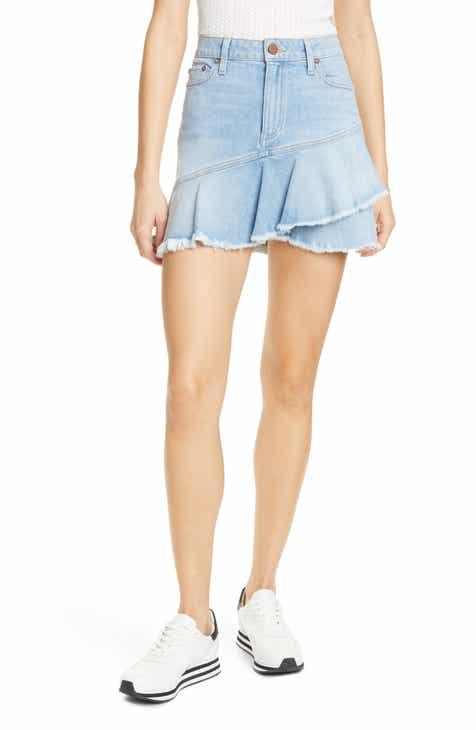 Alice + Olivia Jeans Flounce Ruffle Denim Miniskirt by ALICE AND OLIVIA JEANS