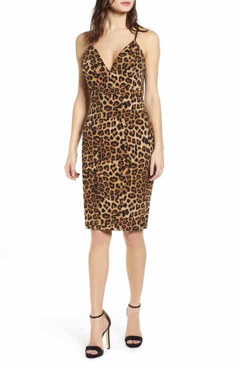 Love, Nickie Lew Leopard Print Lace Back Detail Body-Con Dress by Love, Nickie Lew