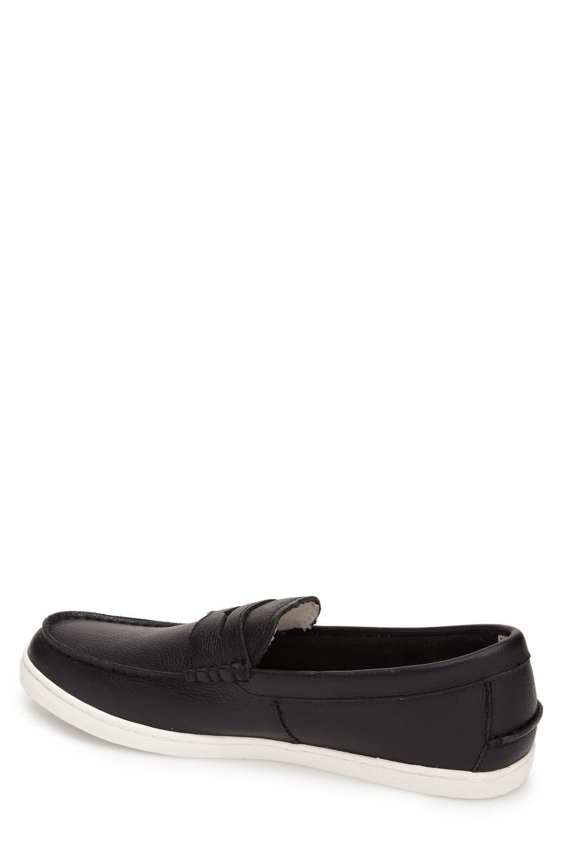 'Pinch' Penny Loafer,                             Alternate thumbnail 6, color,                             Black Leather/ White