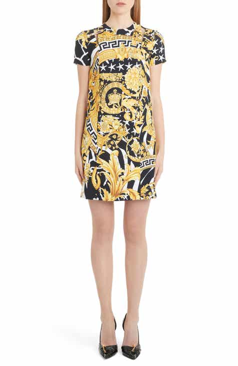 3d6bc2000d Versace Barocco Print Cutout Shift Dress